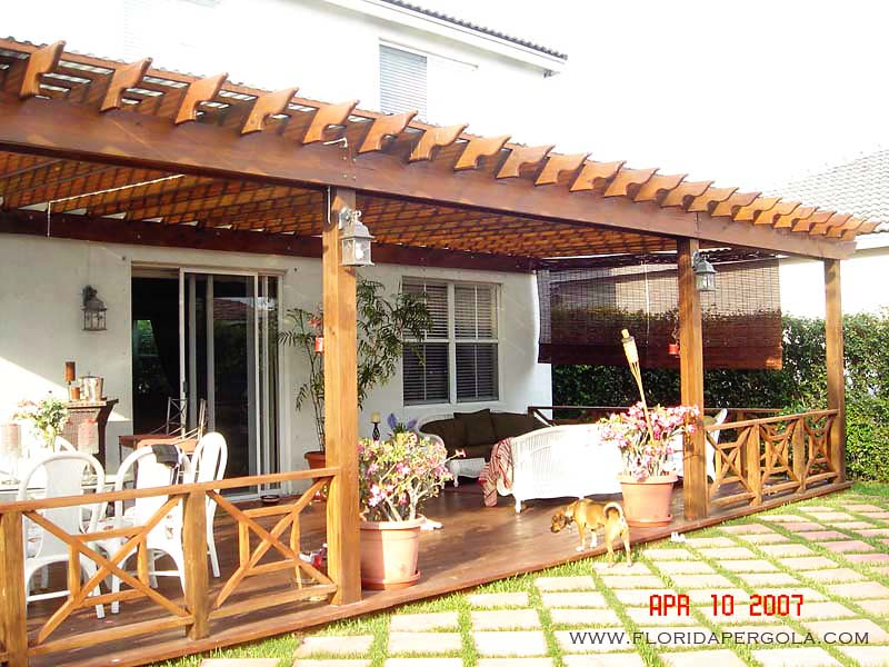 Attached Pergola with Plantation Rails