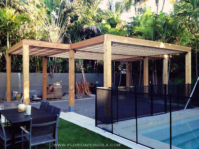 Contemporary Pergola in surfaced Western Red Cedar