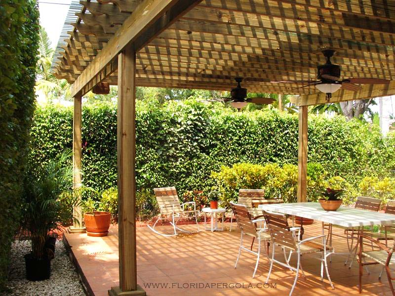 Pergola with Ceiling Fans