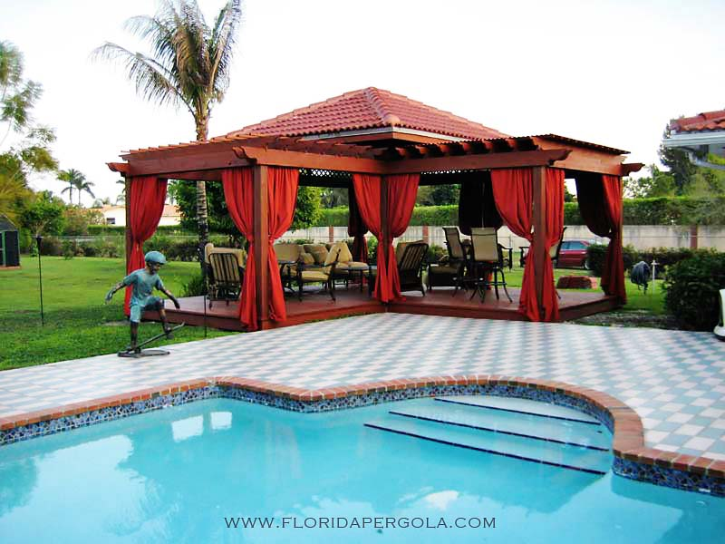 L-Shaped Pergola, Deck and Drapes