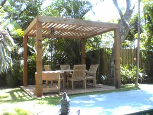 Contemporary Cedar Pergola with slanted rafters for extra shade
